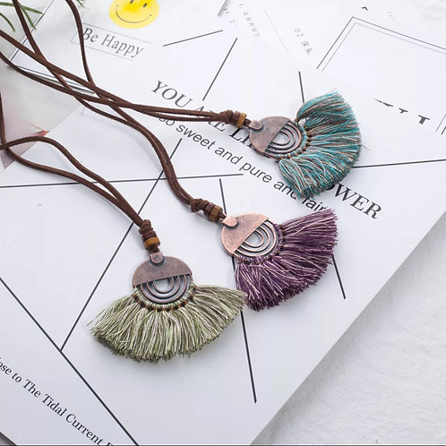 Maroon Tassel Necklace
