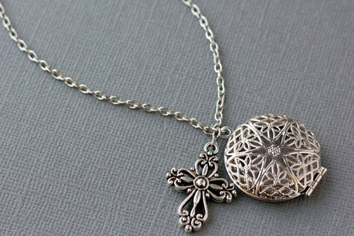 Cross Diffuser Necklace