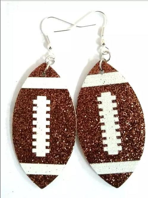 Glitter Football Earrings