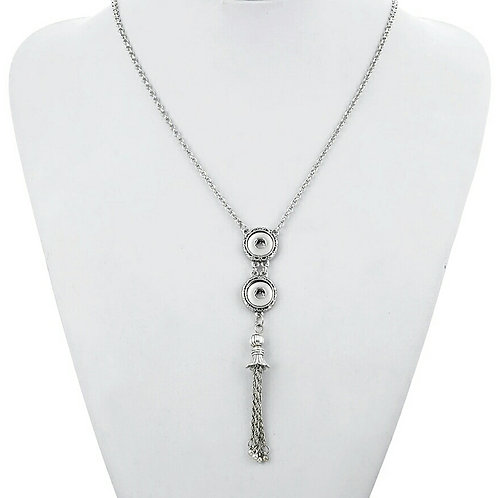 Mini Double Snap Tassle Necklace