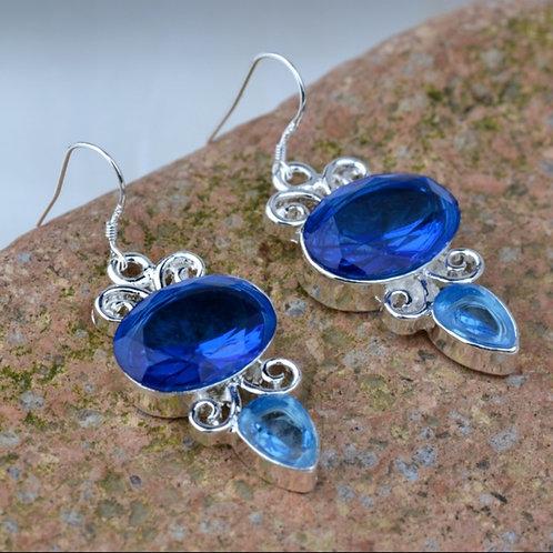 Two Tone Blue Oval Tear Drop Earrings