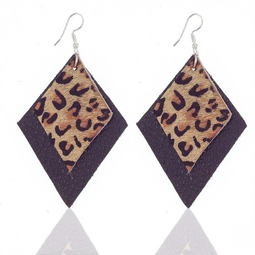 Black Leather Animal Print Earrings