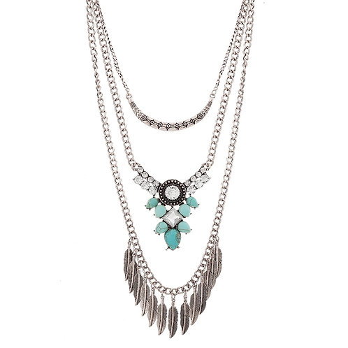 Multilayer Turquoise & Feather Necklace