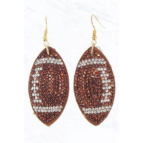 Crystal Football Earrings