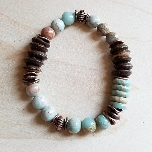 Aqua Terra and Wood Bracelet