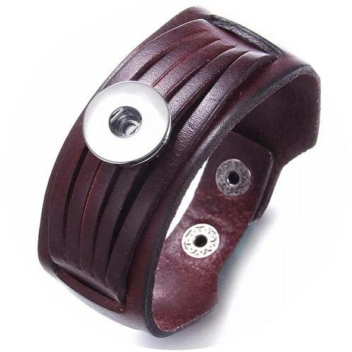 Dark Brown Leather Snap Bracelet