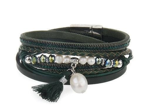 Black Pearl Like Wrap Bracelet