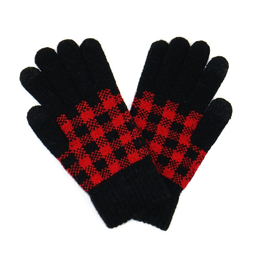 Buffalo Plaid Knit Smart Touch Gloves - Red