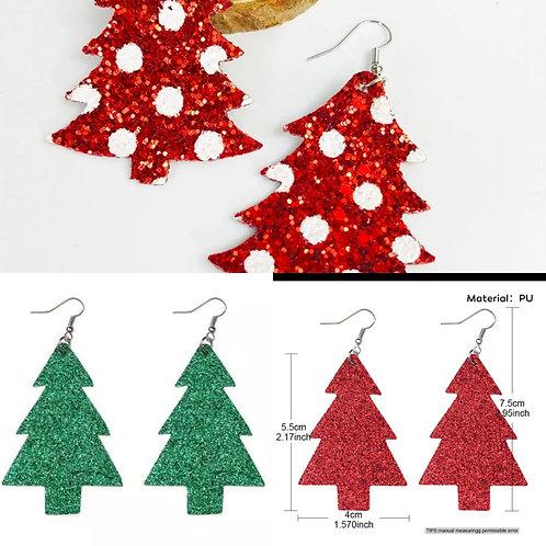 Glitter Christmas Tree Earrings