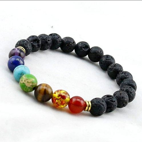 Black Lava 7 Chakra Healing/Balance Beaded Bracele