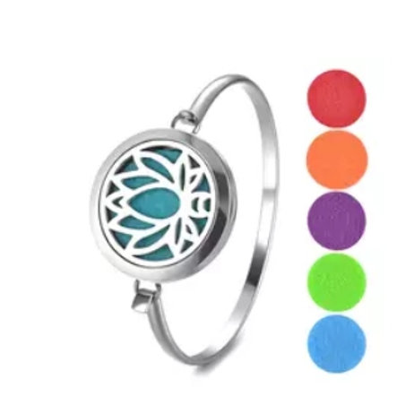 Lotus Flower Bangle Diffuser Bracelet