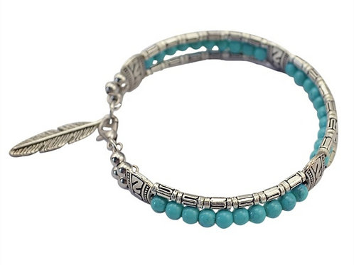 Turquoise Color Feather Beaded Bracelet