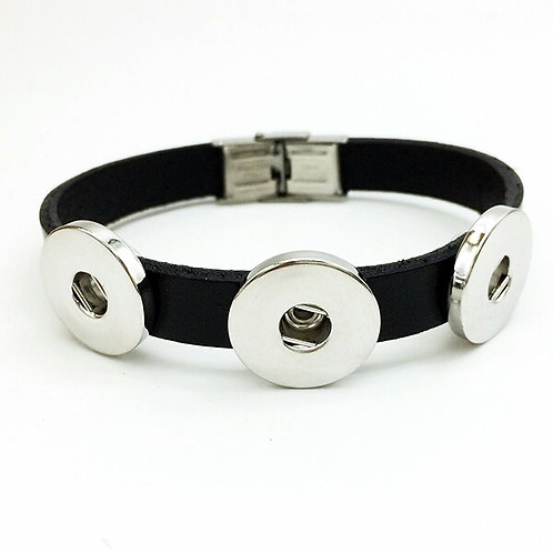 Black Leather Multi Snap & Slide Bracelet