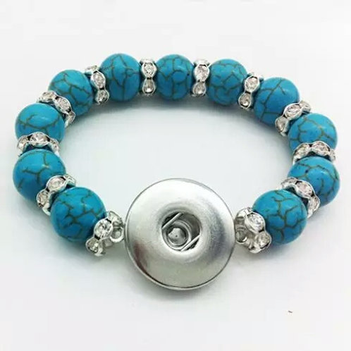 Turquoise Rhinestone Beaded Stretch Bracelet