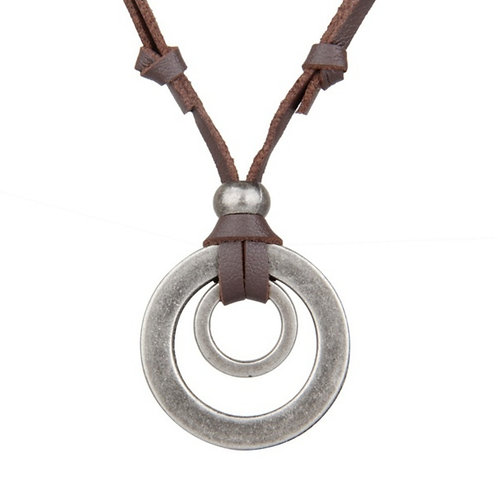 Retro Double Circle Brown Leather Necklace