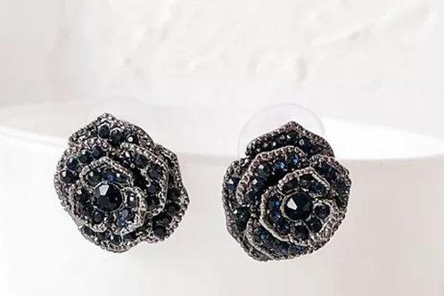 Blue Rhinestone Floral Earrings