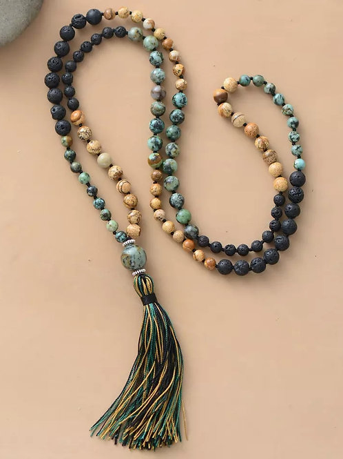 Natural Stone Lava Bead Meditation Necklace