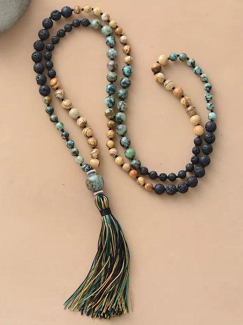 Natural Jasper & Lava Bead Tassel Mala Necklace