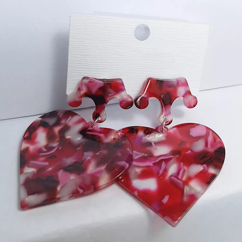Acrylic Marble Heart Earrings