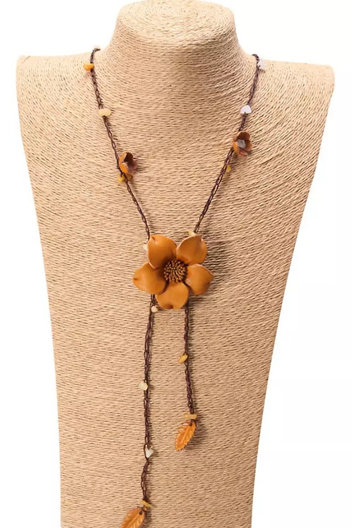 Leather Floral Necklace