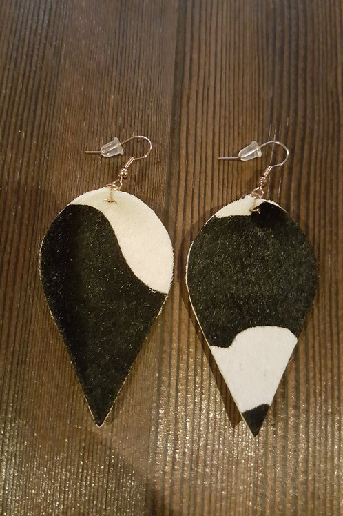 Black White Leather Cowhide Earrings