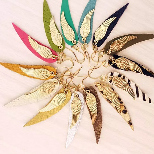 Leather Angel Wing Fringe Earrings