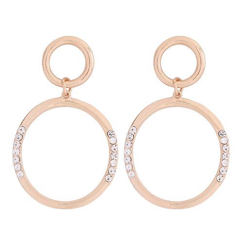 Zirconia Inset Hoop Drop Earrings
