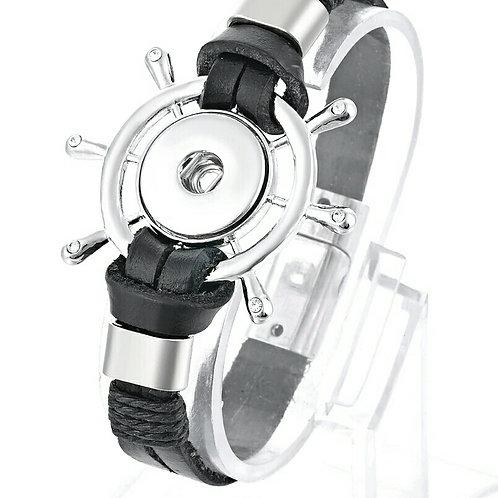 Black Leather Nautical Bracelet