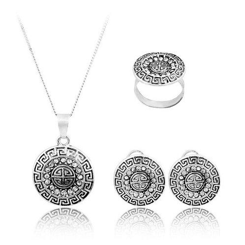 Silver & Rhinestone Necklace, Ring, & Earrings