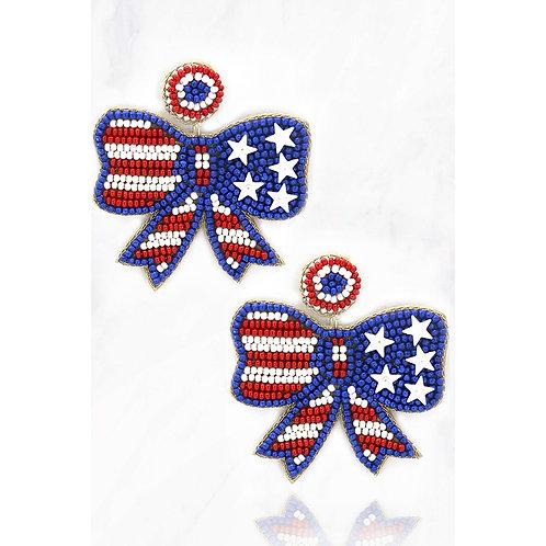 Ribbon Beaded Patriotic Earrings
