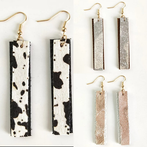 Leather Cowhide Double Layer Earrings