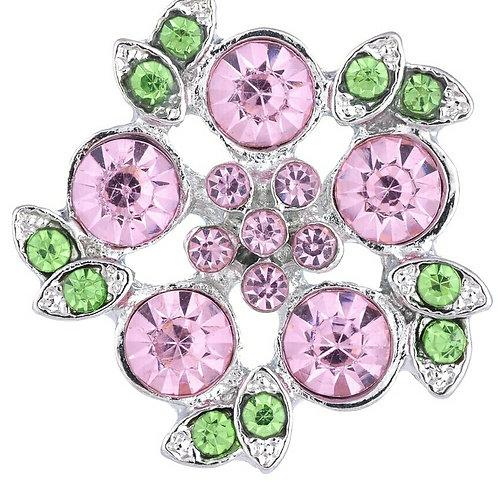 Pink/Green Rhinestone Snap