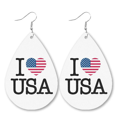 I Love USA Earrings