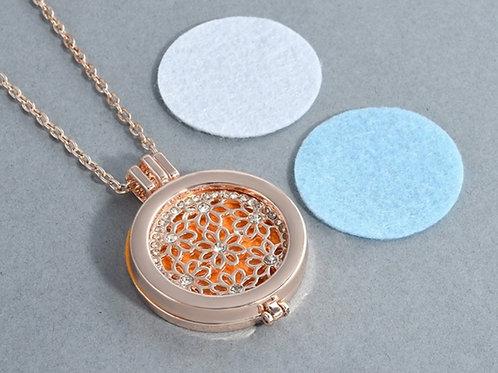 Rhinestone Floral Diffuser Necklace