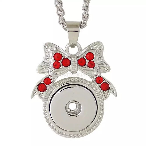 Red Rhinestone Bow Necklace