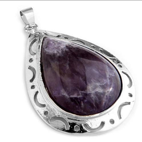 Teardrop Amethyst Gemstone Pendant