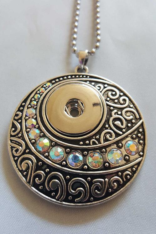 Round Scroll Iridescent Rhinestone Necklace