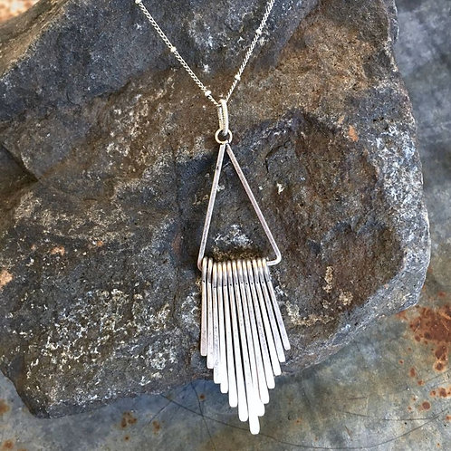 Silver Triangle Paddle Necklace