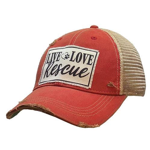 Live Love Rescue Distressed Baseball Cap