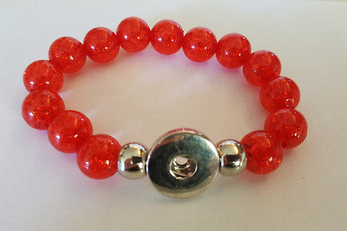 Red Crackle Lg Beaded Bracelet