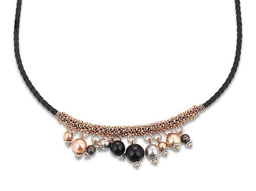 Black Leather & Rose Gold Beaded Necklace