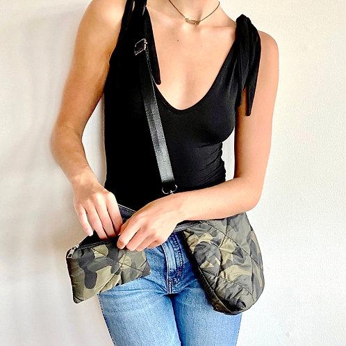 Ava Quilted Camo Crossbody & Zipper Pouch