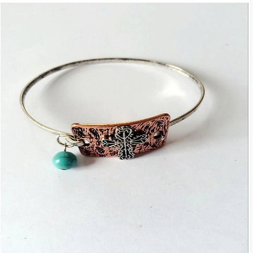 Cross Bangle Bracelet