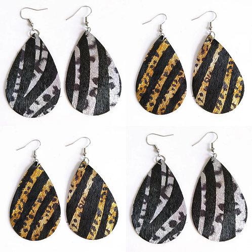 Leather Iridescent Animal Print Earrings