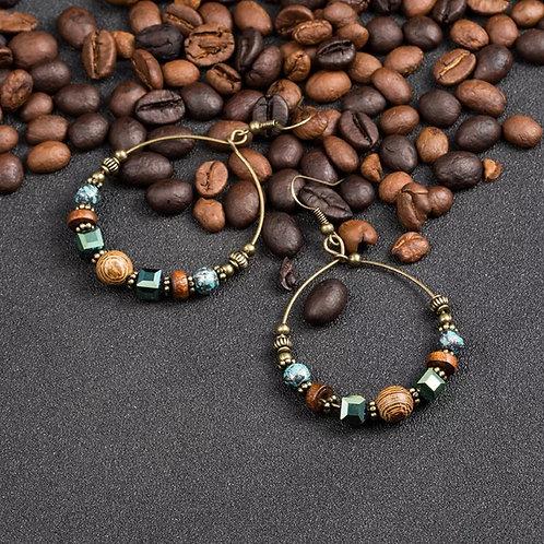 Bohemian Hoop Crystal Wood Bead Earrings