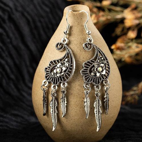 Water Drop Feather Earrings