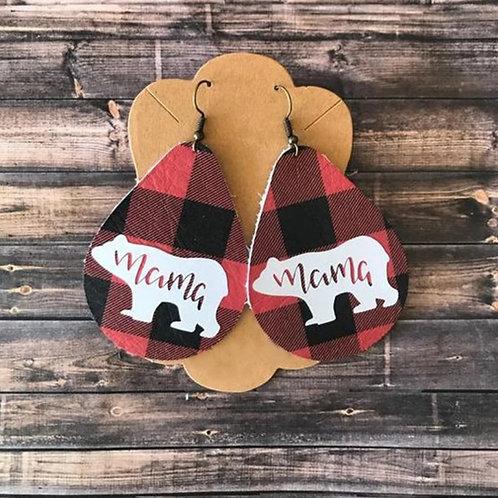Red/Black Buffalo Check Mama Bear Earrings