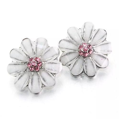 White Floral Pink Rhinestone Snap