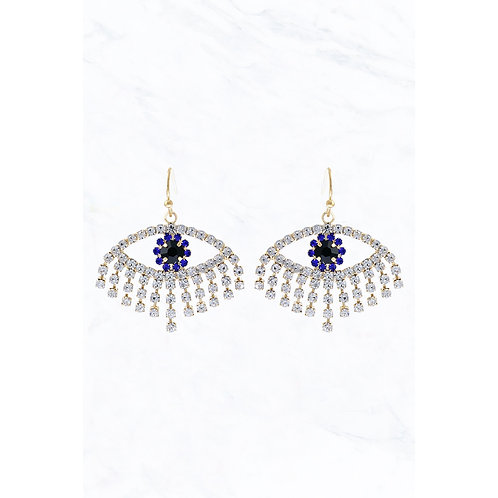 Rhinestone Evil Eye Earrings