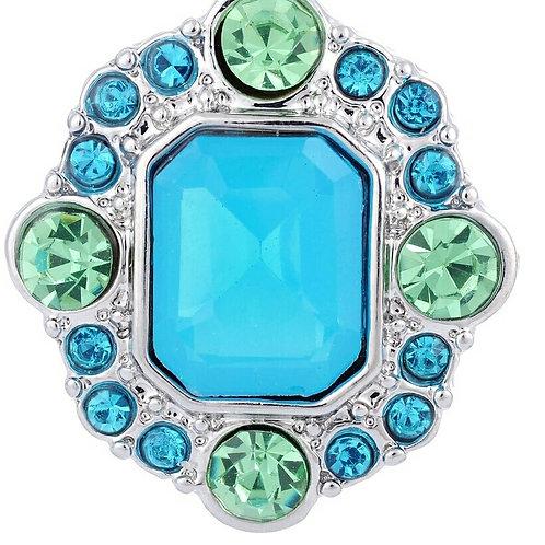 Blue/Green Rhinestone Snap